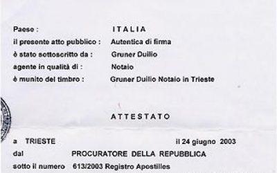 Как выглядит апостиль: Италия