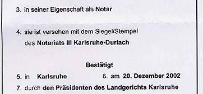 Как выглядит апостиль: немецкий апостиль, образец